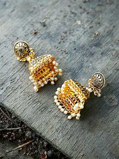 Artistic Golden Ethnic Jhumkas