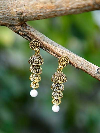 Golden Layered Ethnic Jhumkas