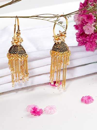 Golden Ethnic Bali Earrings with Pearls