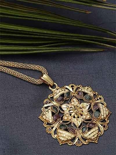 Golden Flower Ethnic Pendant Necklace