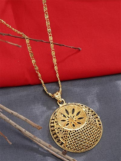 Golden Floral Ethnic Pendant Necklace