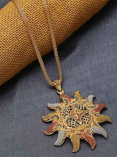 Golden Surya Ethnic Pendant Necklace