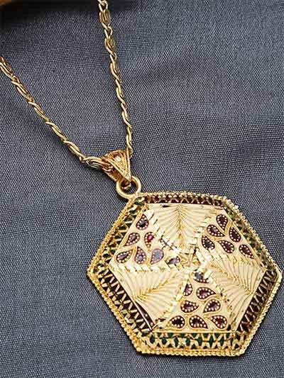Golden Geometrical Ethnic Pendant Necklace