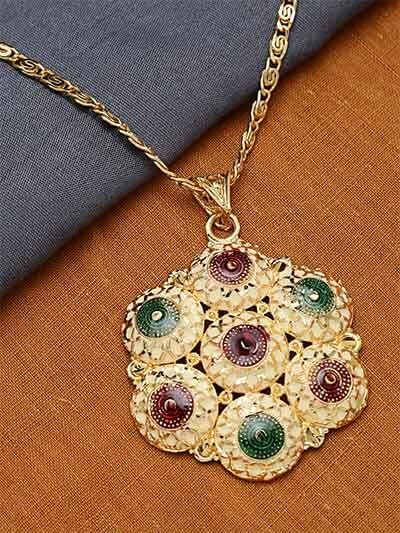Golden Flower Ethnic Pendant Necklace