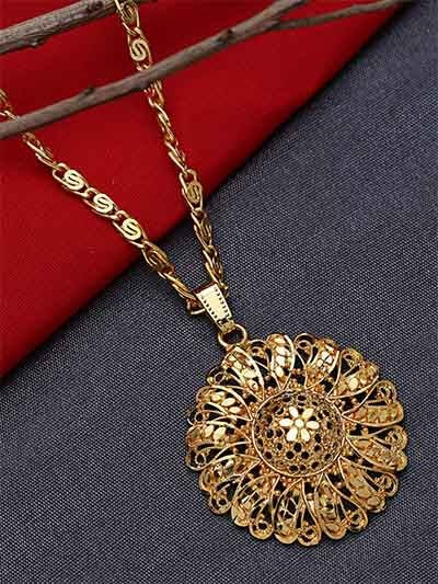 Golden Ethnic Pendant Necklace with Floral Motifs