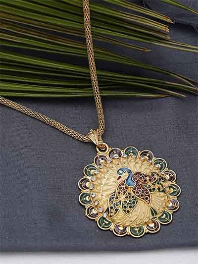 Classic Golden Peacock Ethnic Pendant Necklace