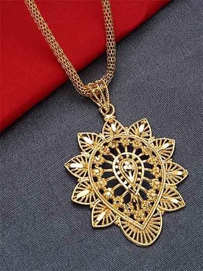Golden Leaf Ethnic Pendant Necklace