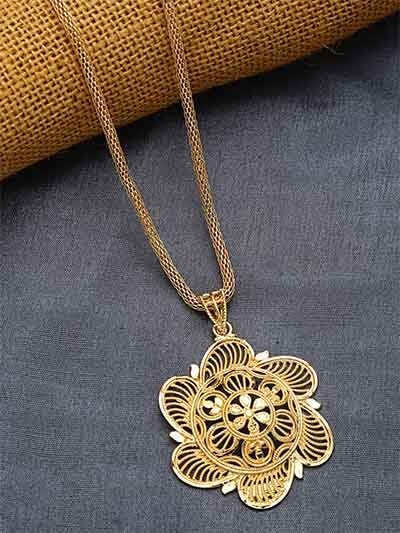 Golden Flower Ethnic Pendant Necklace with Golden Chain