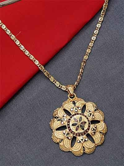 Golden Ethnic Pendant Necklace with Red and Green Floral Motifs
