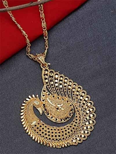 Designer Golden Peacock Ethnic Pendant Necklace