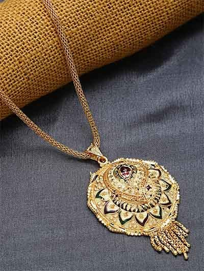 Golden Round Ethnic Pendant Necklace with Floral Motifs