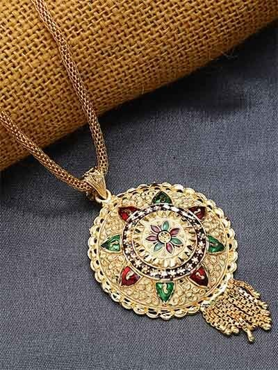 Golden Round Ethnic Pendant Necklace with Red and Green Floral Motifs