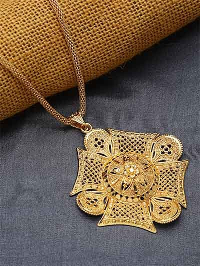 Golden Square Ethnic Pendant Necklace with Floral Motifs