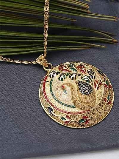 Multicolored Peacock Ethnic Pendant Necklace