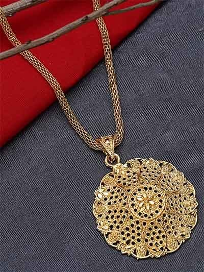 Golden Ethnic Pendant Necklace with Classic Floral Motifs