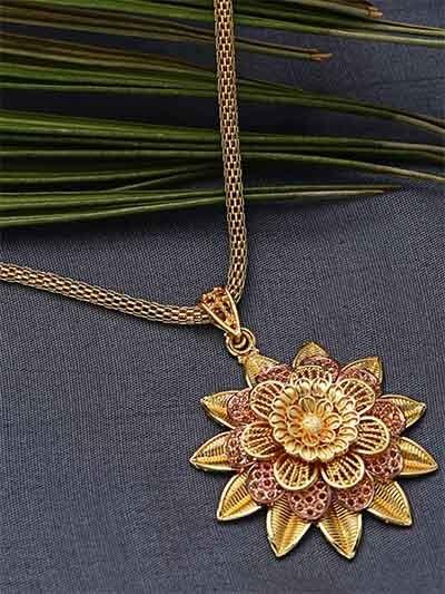 Golden and Pink Designer Flower Ethnic Pendant Necklace