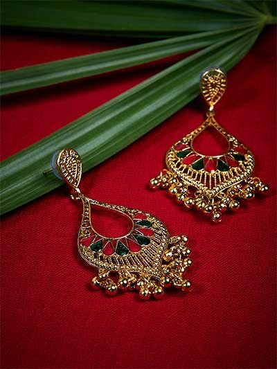 Golden Drop Ethnic Earrings With Red and Green Stones