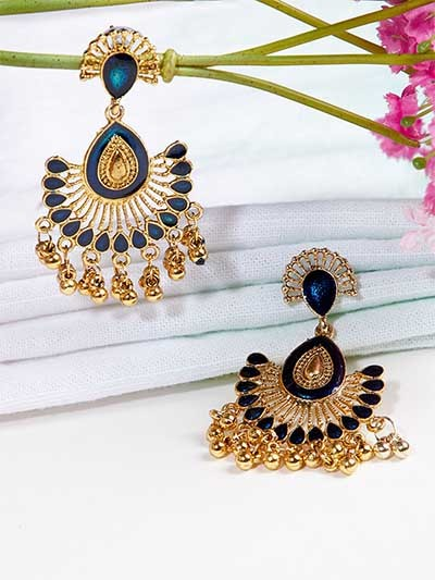 Golden and Blue Ethnic Dangle Earrings