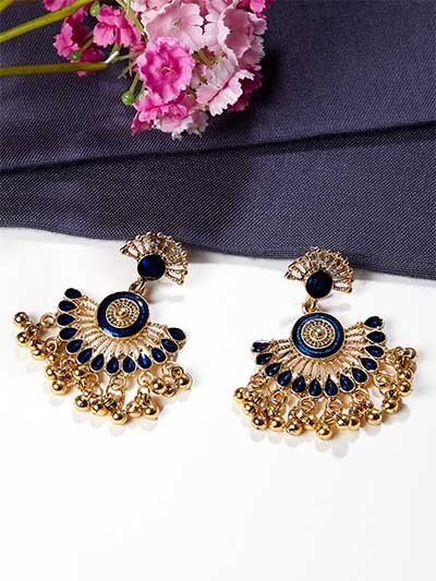 Lightweight Golden and Blue Ethnic Dangle Earrings