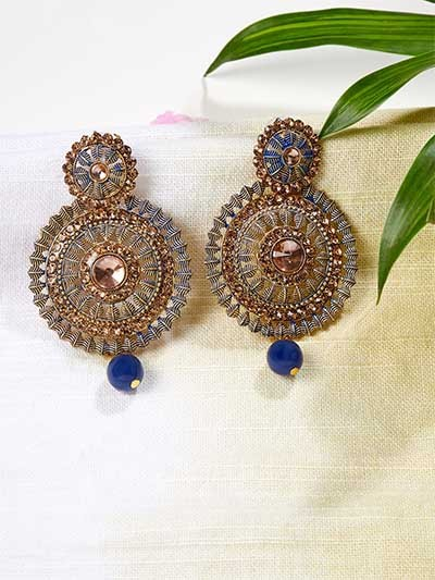 Floral Golden and Blue Circular Ethnic Earrings