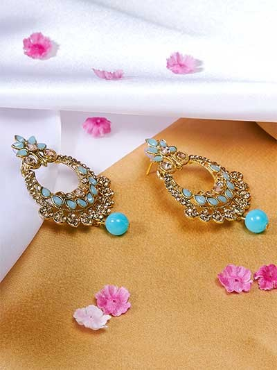 Golden and Blue Chandbali Ethnic Earrings