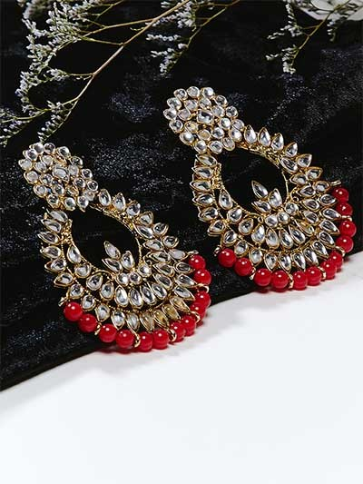 Golden and Red Chandbali Kundan Earrings