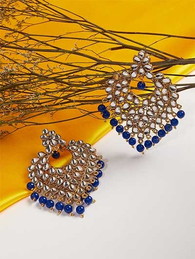 Golden and Blue Heart Kundan Earrings