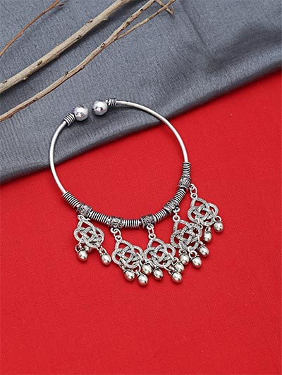 Adjustable Oxidized Silver Bracelet with Charms and Metallic Bells