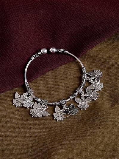 Adjustable Oxidized Silver Bracelet with Angels Charms