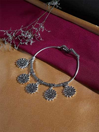 Oxidized Silver Bracelet with Chunky Floral Charms