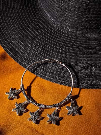 Oxidized Silver Bracelet with Starfish Charms