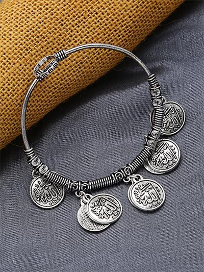 Adjustable Oxidized Silver Bracelet with Coin Charms