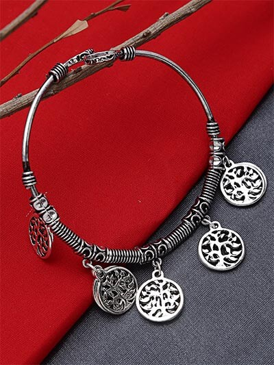 Adjustable Oxidized Silver Bracelet with Tree Charms