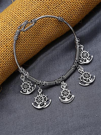 Adjustable Oxidized Silver Bracelet with Sea-Anchor Charms
