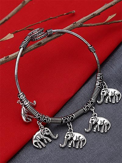 Adjustable Oxidized Silver Bracelet with Elephant Charms