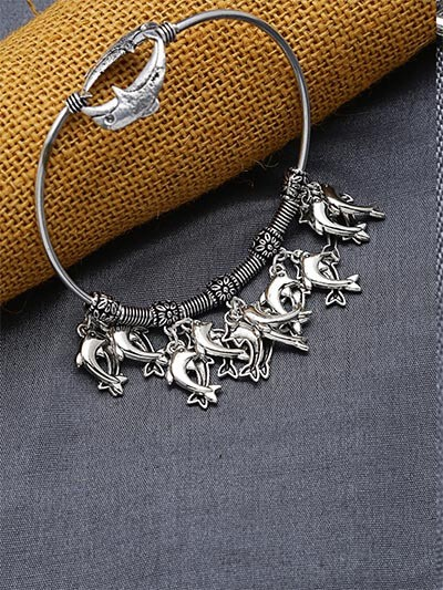 Adjustable Oxidized Silver Bracelet with Dolphin Charms