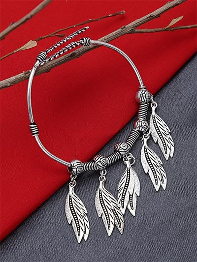 Adjustable Oxidized Silver Bracelet with Designer Leaves Charms