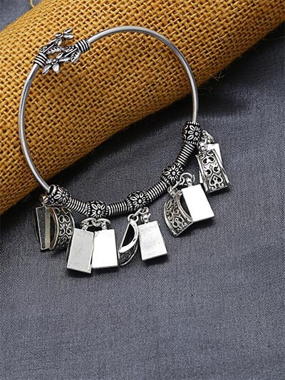 Adjustable Oxidized Silver Bracelet with Quirky Charms