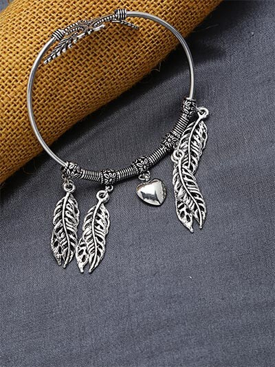 Adjustable Oxidized Silver Bracelet with Leaves and Heart Charms