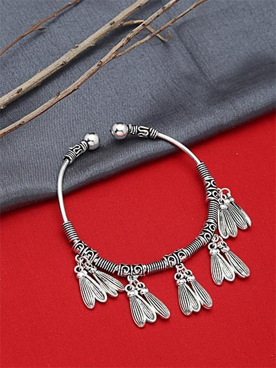 Adjustable Oxidized Silver Bracelet with Classic Charms