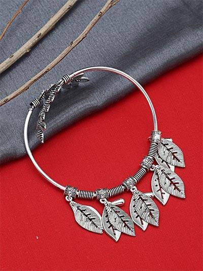 Adjustable Oxidized Silver Bracelet with Vintage Leaves Charms