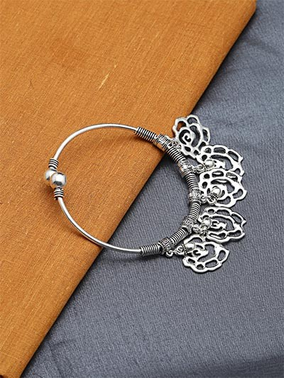 Adjustable Oxidized Silver Bracelet with Rose Charms and Metallic Bells