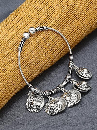 Adjustable Oxidized Silver Bracelet with Designer Charms