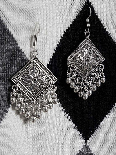 Floral Motifs Diamond Design Oxidized Silver Long Earrings