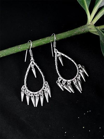 Oxidized Silver Hoop Earrings For Women