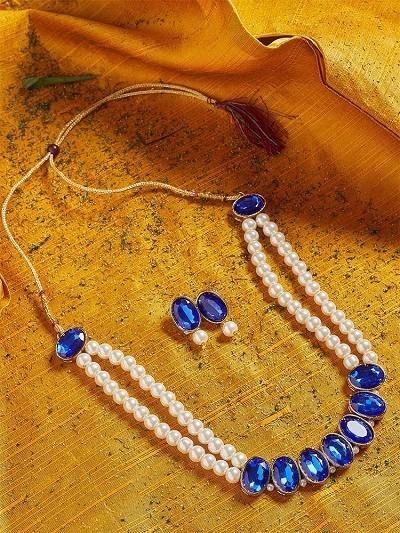 Blue Stones Embellished Long Pearl Necklace Set