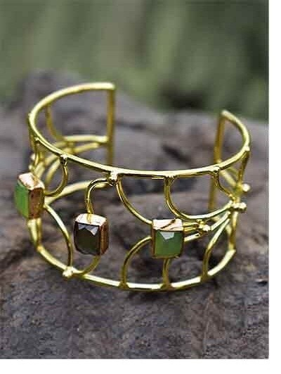 Classic Smoky and Lime Onyx Semi Precious Handmade Jewellery Cuff Bracelet
