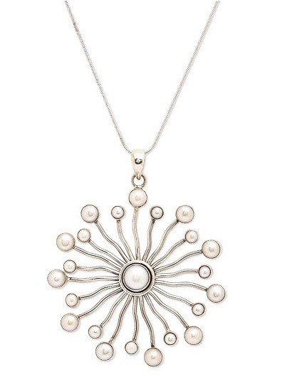 Pearl Sun Ray Silver Jewellery Pendant Necklace