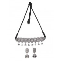 Women's Silver Plated Oxidized Choker Necklace Set