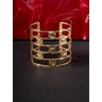 Classic Patterned Golden Cuff Bracelet